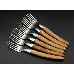 Fourchettes de table La Fourmi manche Bois d'Olivier x 6