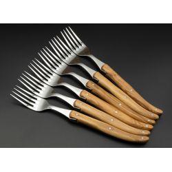 Fourchettes de table Laguiole manche bois d'Olivier x 6